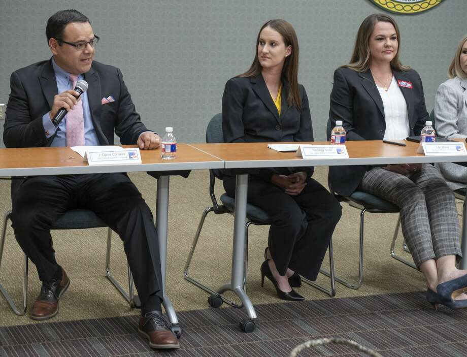 City Council District 4 candidates Dan Corrales, from Kimberly Crisp and Lori Blong at the Midland League of Women Voters forum at Midland College. Photo: Tim Fischer/Reporter-Telegram