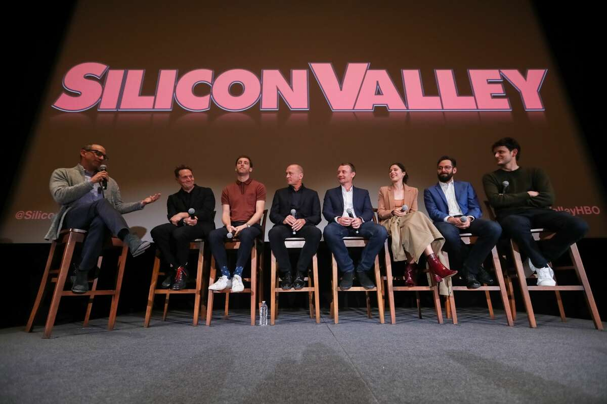 (L-R) Dick Costolo, Managing Partner at 01 Advisors, moderates a panel with actors Matt Ross, Thomas Middleditch, show creator Mike Judge, writer Alec Berg, actors Amanda Crew, Martin Starr, and Zach Woods onstage on October 16, 2019 in San Francisco, California.