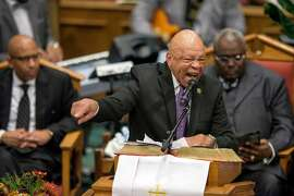 FILE -- Rep. Elijah Cummings (D-Md.) speaks during the funeral service for Freddie Gray at the New Shiloh Baptist Church in Baltimore on April 27, 2015. Cummings, a son of sharecroppers who rose to become one of the most powerful Democrats in Congress and a central figure in the impeachment investigation of President Donald Trump, died on Thursday, Oct. 17, 2019 in Baltimore. He was 68. (Matt Roth/The New York Times)