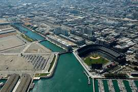 Aerial view of AT&T Park, San Francisco, made Tuesday Sept. 5, 2006. CREDIT: Judith Calson/Special to The Chronicle  Ran on: 10-28-2010 The Giants' ballpark, which opened in 2000, spurred a redevelopment boom in the China Basin area and the Mission Bay neighborhood.