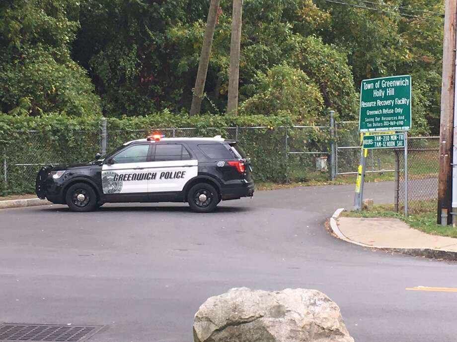 Greenwich police closed the Holly Holly Hill Waste Deposal and Recycling Center early Thursday afternoon due to a suspicious package. Photo: Robert Marchant / Hearst Connecticut Media