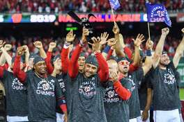 Washington Nationals Manager Dave Martinez and his team celebrate advancing to the World Series after sweeping the St. Louis Cardinals in the National League Championship Series.