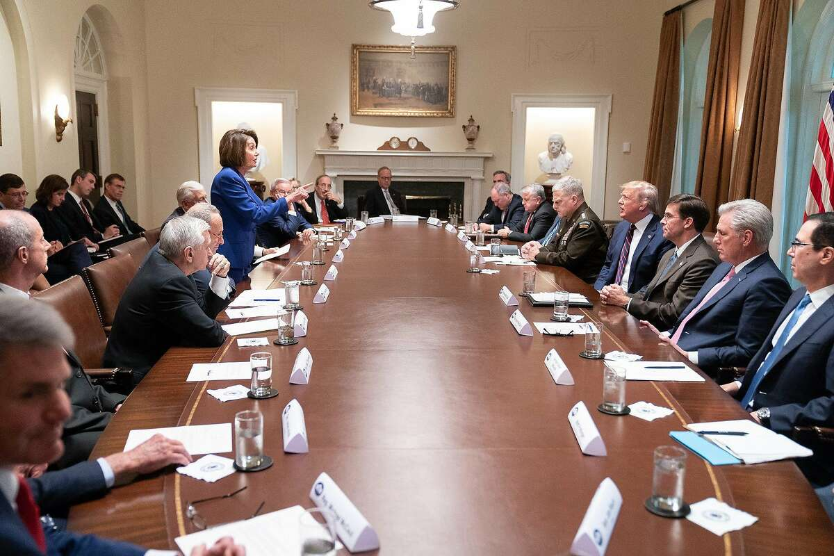President Donald J. Trump meets with House Speaker Nancy Pelosi and Congressional leadership Wednesday, Oct. 16, 2019, in the Cabinet Room of the White House. (Official White House Photo by Shealah Craighead