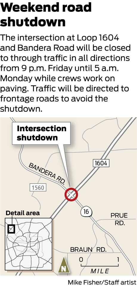 The intersection at Loop 1604 and Bandera Road will be closed to through traffic in all directions from 9 p.m. Friday until 5 a.m. Monday while crews work on paving. Traffic will be directed to frontage roads to avoid the shutdown. Photo: Michael Fisher/ San Antonio Express-News