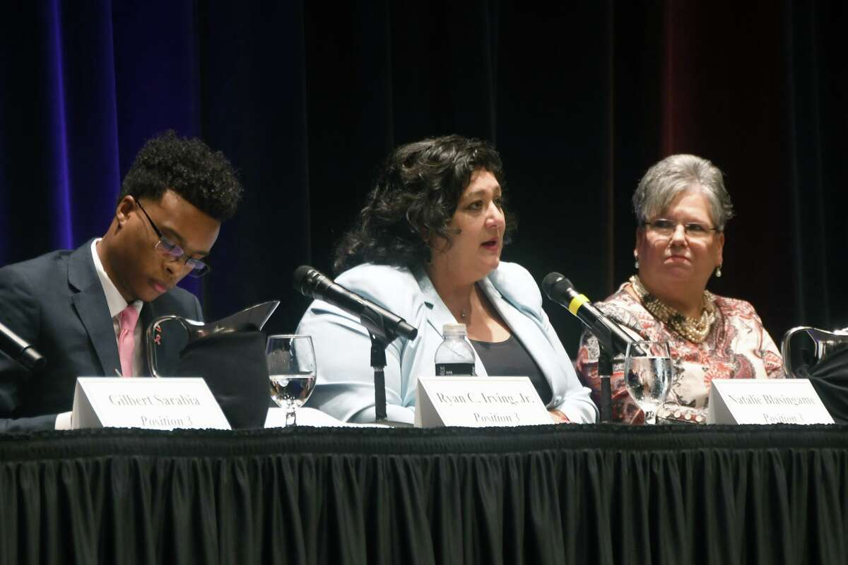(left to right) Ryan C. Irving, Natalie Blasingame and Debbie Blackshear spoke on representation in Cy-Fair ISD and budgeting during the CFISD Board of trustees candidate forum and Oct. 15.