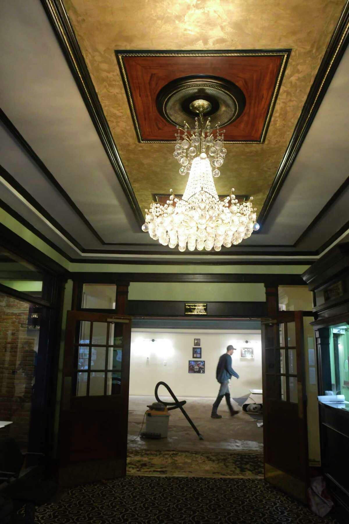 Renovation work continues inside the Hudson River Music Hall Strand Theatre on Thursday, Oct. 17, 2019, in Hudson Falls, N.Y. The building was last used as the Kingsbury Town Hall before the Hudson River Music Hall Productions Inc. purchased the building. (Paul Buckowski/Times Union)
