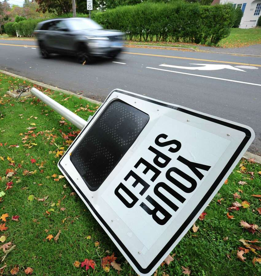 A speed sign had blown down following the storm Thursday, October 17, 2019, on Flax Hill Road in Norwalk, Conn.