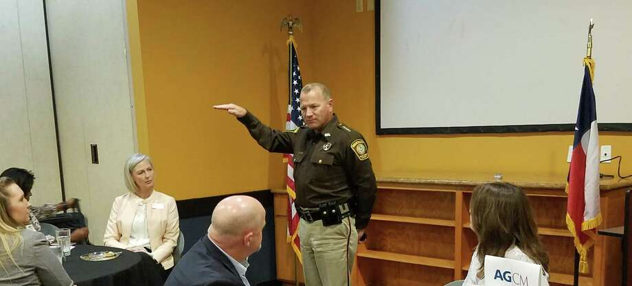 Fort Bend County Sheriff Troy Nehls discusses the mental health crisis in Fort Bend County at a Katy Area Chamber of Commerce luncheon. Photo: By Claire Goodman