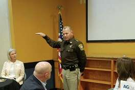 Fort Bend County Sheriff Troy Nehls discusses the mental health crisis in Fort Bend County at a Katy Area Chamber of Commerce luncheon.