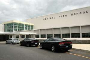 File photo of the exterior of Central High School, in Bridgeport, Conn.