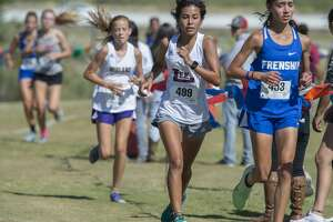 Lee's Nayeli Galindo runs the course 10/17/19 at the District 2-6A cross-country meet at UTPB Park in Odessa. Tim Fischer/Reporter-Telegram
