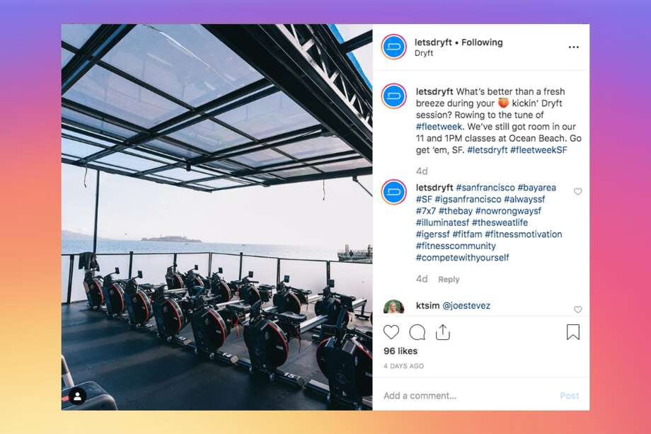 Dryft, a mobile fitness studio, is popping up at scenic locations in San Francisco. Photo: Screenshot Via @letsdryft