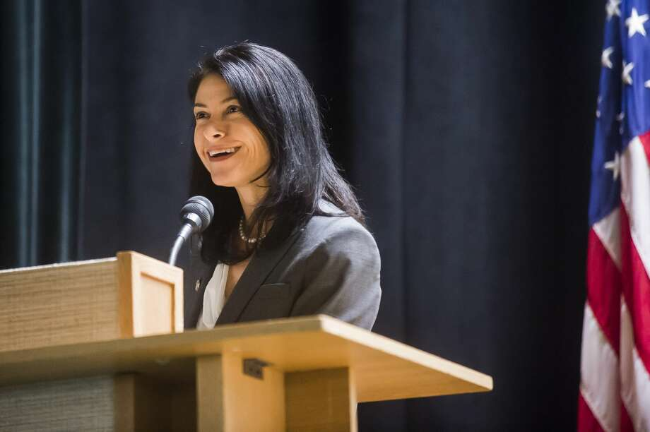 FILE — Michigan Attorney General Dana Nessel speaks about the Freedom of Information and Open Meetings acts during a public forum hosted by the Michigan Press Association and the Midland Daily News Thursday, Oct. 17, 2019 at Grace A. Dow Memorial Library. (Katy Kildee/kkildee@mdn.net) Photo: (Katy Kildee/kkildee@mdn.net)