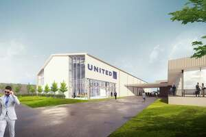 United Airlines on Thursday began a $20 million expansion of its flight attendant training facility in Houston. Pictured is a rendering of that facility.
