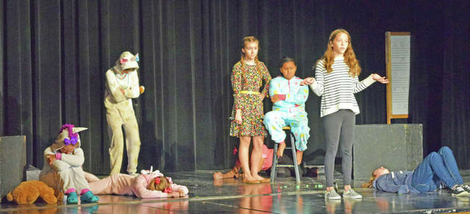 Students from Lincoln Middle School in Edwardsville performed '15 Reasons Not to be in a Play' for their peers on Thursday. Photo: Tyler Pletsch   The Intelligencer