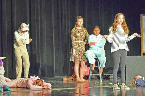 Students from Lincoln Middle School in Edwardsville performed '15 Reasons Not to be in a Play' for their peers on Thursday.