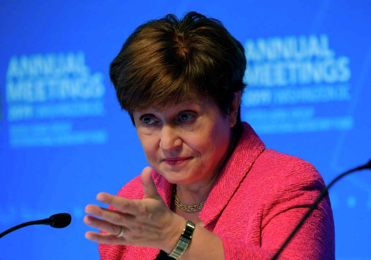 IMF Managing Director Kristalina Georgieva speaks at a news conference during the IMF/World Bank 2019 Annual Fall Meetings, in Washington, DC, on October 17, 2019. (Photo by Andrew CABALLERO-REYNOLDS / AFP) (Photo by ANDREW CABALLERO-REYNOLDS/AFP via Getty Images)