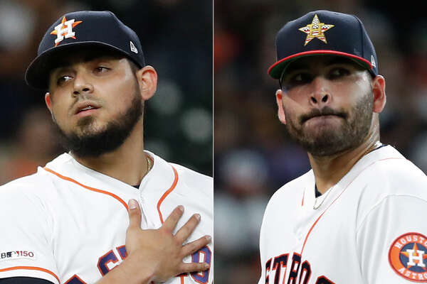 Astros pitchers Roberto Osuna (left) and Jose Urquidy have known each other dating back to the first time they represented their Sinaloa state team in their native Mexico.