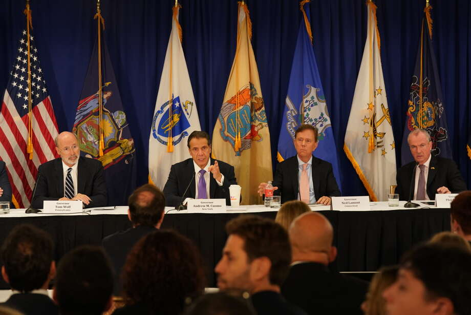 Gov. Andrew Cuomo (center left) hosted a regional summit on vaping and recreational cannabis. (Provided by Cuomo administration) Photo: Provided By Andrew M. Cuomo Administration