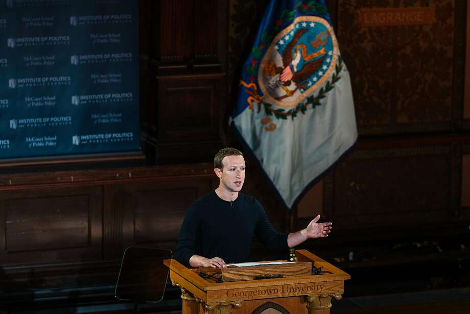 In his Georgetown speech, Mark Zuckerberg tried to position Facebook as being above politics. Photo: Justin T. Gellerson / New York Times