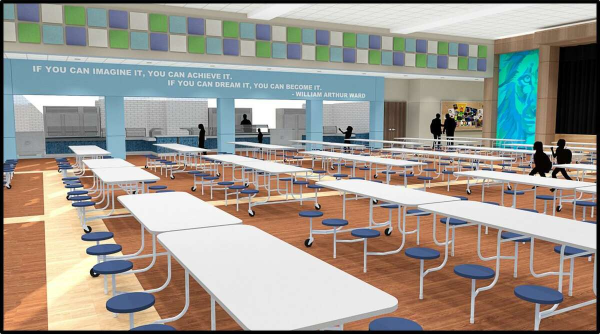 A rendering shows the cafeteria of the new Grand Oaks Elementary, expected to open in 2020.