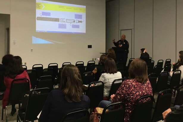 Capt. Ivan B. Nelson of the Katy ISD Police Department talked about vaping at the Oct. 16 Legacy Parents Academy. Here he talks about the components of e-cigarettes: a mouthpiece, a cartridge, a heating element/atomizer and a battery.