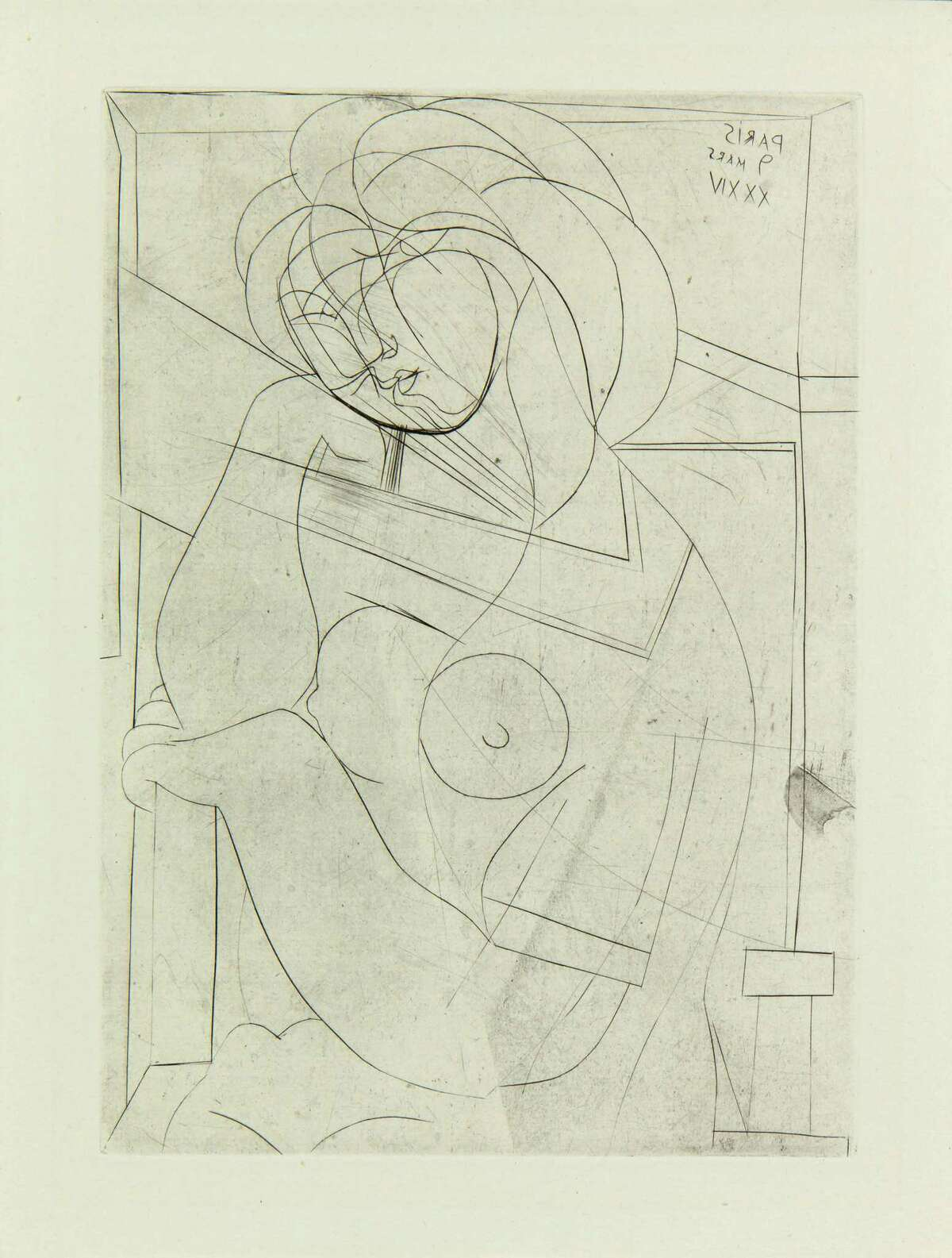 Pablo Picasso, Seated Nude with her Head Resting in her Hand, 1934. Copper plate etching on Montval paper, c. Artist Rights Society