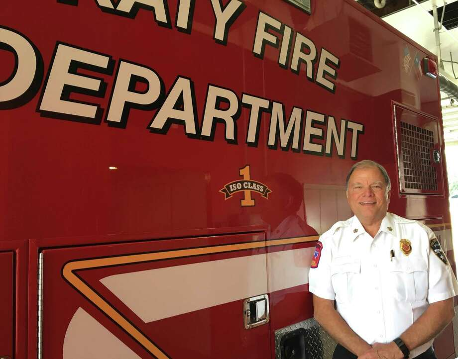 "Katy Fire Chief Russell Wilson likes that his office is housed at Katy Fire Station No. 1 which allows him to walk down the hallway to visit and talk with the men and women on duty that shift. Fire trucks also now display the department's ISO rating of ""1."" That's the highest rating that can be achieved. Photo: Karen Zurawski / Karen Zurawski"