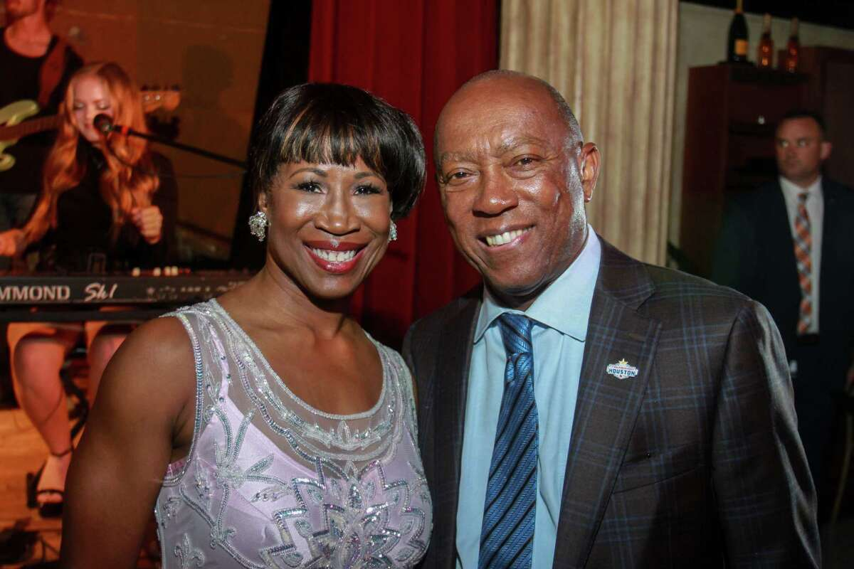 Chair Lauren Anderson and Mayor Sylvester Turner at the Houston Arts Alliance's Immerse cocktail reception showcasing a number of local performers and artists at the Prohibition Theatre on October 16, 2019.