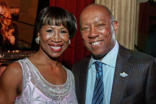 EMBARGOED FOR REPORTER UNTIL OCTOBER 20 Chair Lauren Anderson and Mayor Sylvester Turner at the Houston Arts Alliance's Immerse cocktail reception showcasing a number of local performers and artists at the Prohibition Theatre on October 16, 2019.