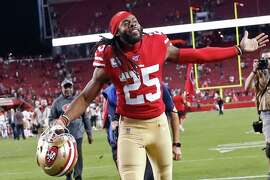 San Francisco 49ers' Richard Sherman runs off the field after 31-3 win over Cleveland Browns during NFL game at Levi's Stadium in Santa Clara, Calif., on Monday, October 7, 2019.