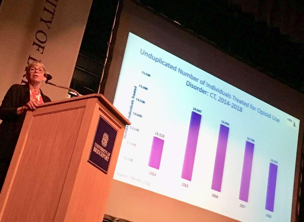 Jane Ungemack of UConn at the University of Bridgeport's symposium on the opioid problem. October 17, 2019