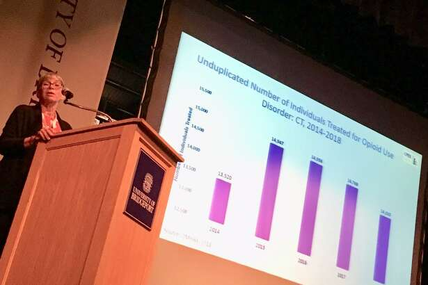 Jane Ungemack of UConn at the University of Bridgeport's symposium on the opioid problem. October 17, 2019