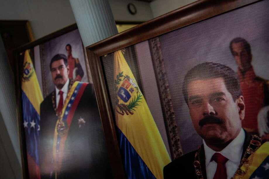 Portraits of President Nicolás Maduro seen inside the Venezuelan Embassy in Washington, D.C., in April. Photo: Washington Post Photo By Salwan Georges / The Washington Post