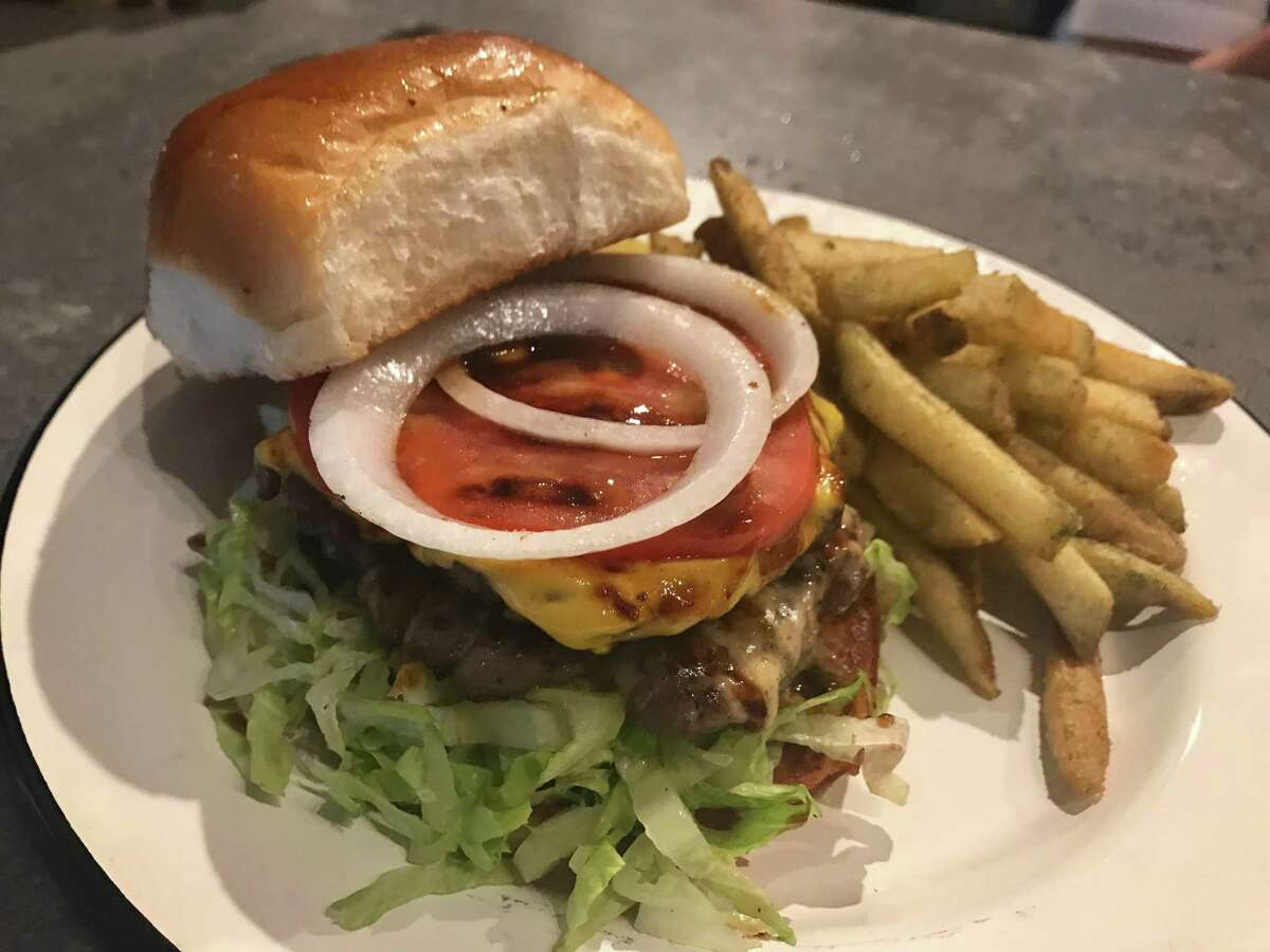 Cheeseburger and fries at Cherry Block in Bravery Chef Hall