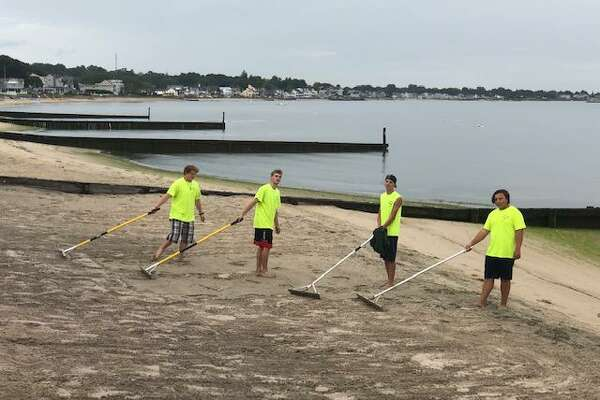 This summer, Westbrook students worked through the West Beach Association on Seaside Avenue and on a mural painting at the Elks Club, also in Westbrook, during the Connecticut Labor Department's Summer Youth Job Training Program through Workforce Alliance.
