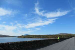 The Ashokan Rail Trail, which opened to the public today, offers views of the Ashokan Reservoir and the Catskill Mountains. (Gillian Scott / Special to the Times Union)