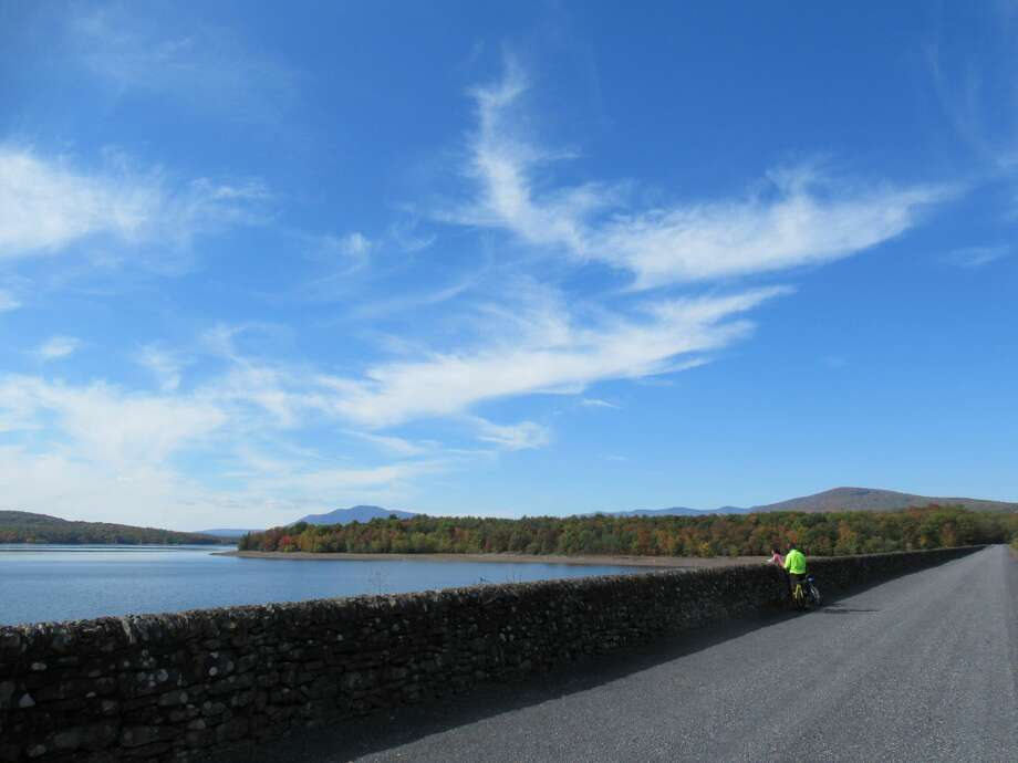 The Ashokan Rail Trail, which opened to the public today, offers views of the Ashokan Reservoir and the Catskill Mountains. (Gillian Scott / Special to the Times Union) Photo: Gillian Scott / Special To The Times Union
