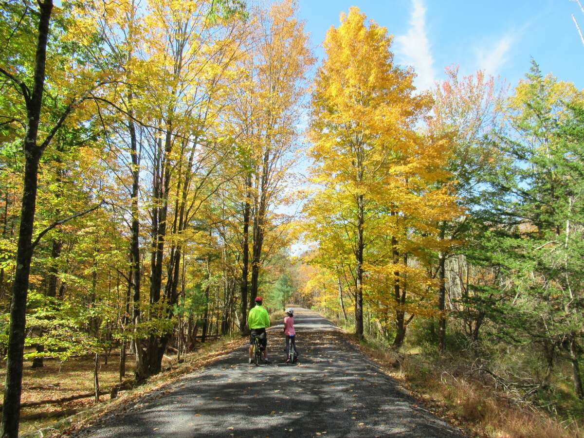 Much of the Ashokan Rail Trail passes through woods that are inaccessible to the public without a permit. (Gillian Scott / Special to the Times Union)