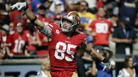 San Francisco 49ers tight end George Kittle (85) celebrates after a catch during the first half of an NFL football game against the Los Angeles Rams Sunday, Oct. 13, 2019, in Los Angeles. (AP Photo/Alex Gallardo )