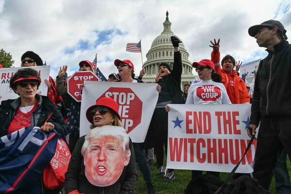 Several hundred supporters of President Donald Trump gather at the Capitol on Thursday, Oct. 17, 2019.
