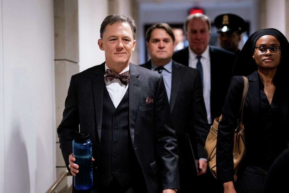 Deputy Assistant Secretary of State George Kent arrives for a closed-door meeting on Capitol Hill in Washington, with House investigators in the impeachment inquiry on Tuesday, Oct. 15, 2019. (Erin Schaff/The New York Times) Photo: ERIN SCHAFF, STF / NYT / NYTNS