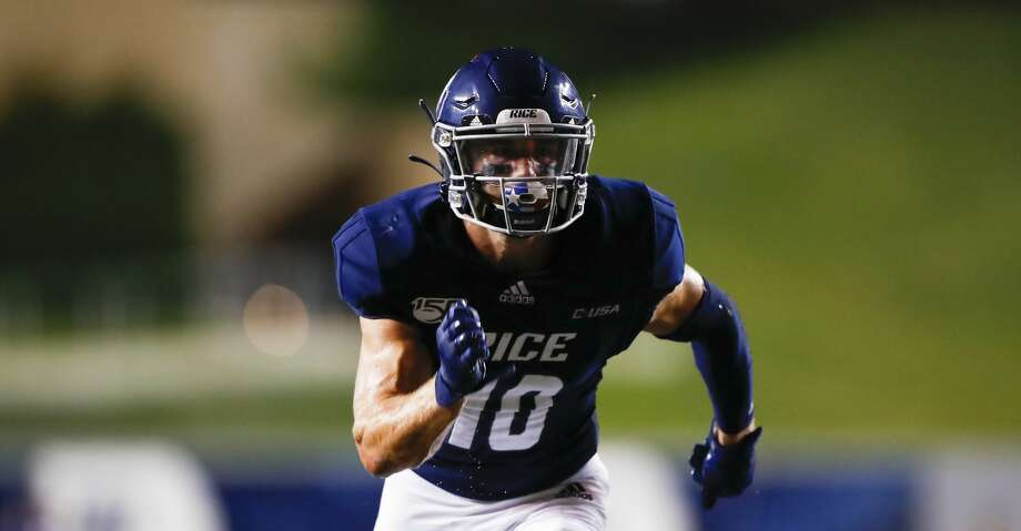 Rice University wide receiver Austin Trammell (10) runs a pass route during an NCAA football game on Saturday, Sept. 21, 2019 in Houston. (AP Photo/Matt Patterson) Photo: Matt Patterson/Associated Press