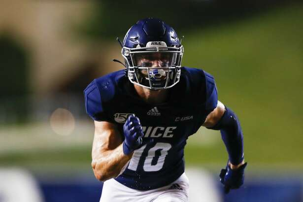 Rice University wide receiver Austin Trammell (10) runs a pass route during an NCAA football game on Saturday, Sept. 21, 2019 in Houston. (AP Photo/Matt Patterson)