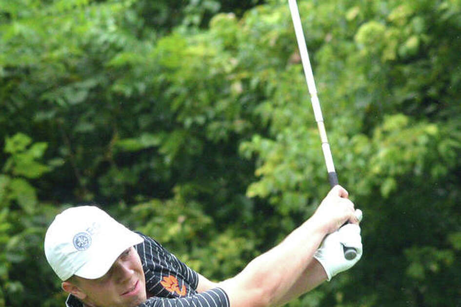 Edwardsville's Trevor Laub watches his shot during a tournament this season. Laub shot a two-day score of 160 at the SWC Tournament, which was won by O'Fallon after a ruling Thursday.