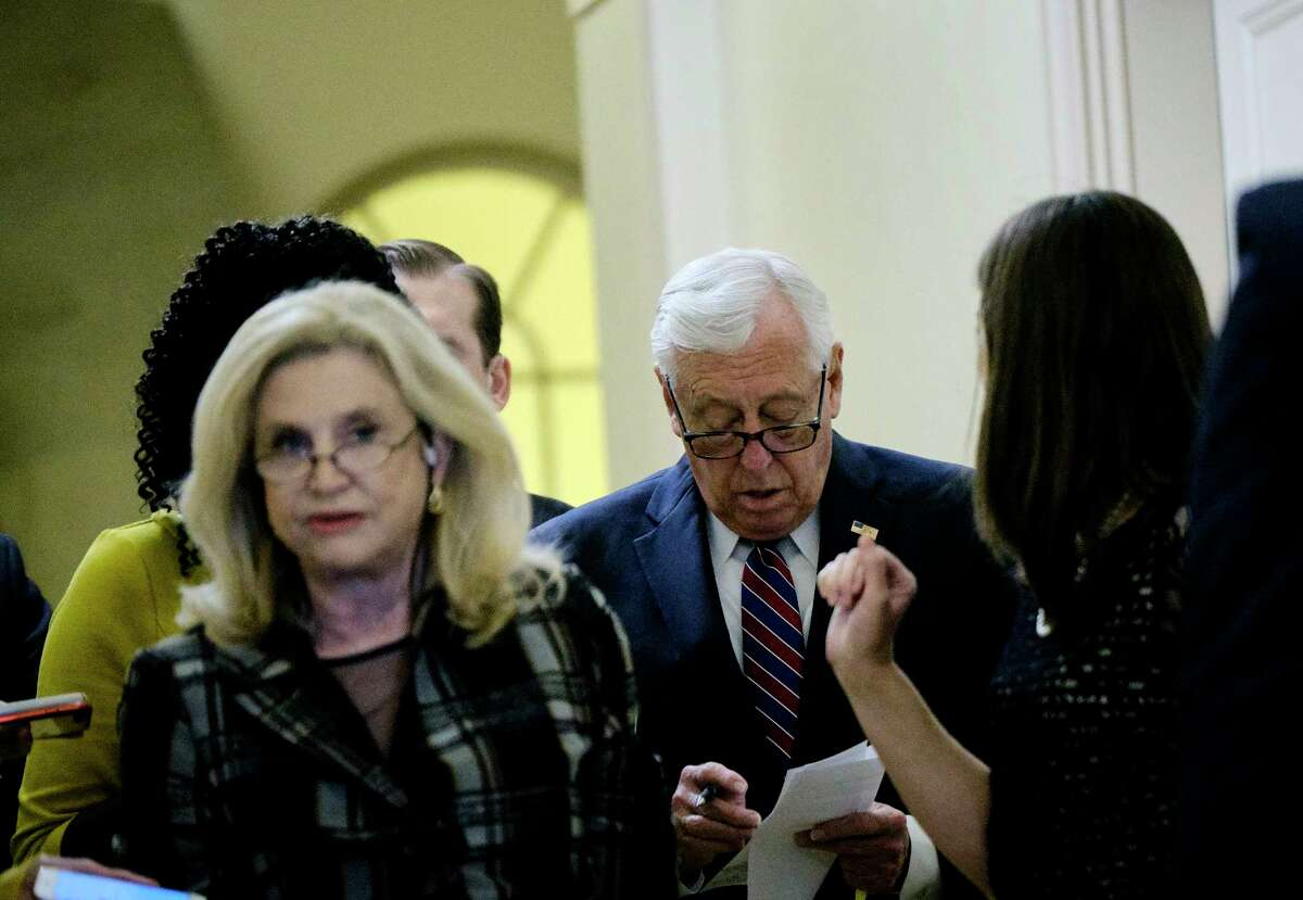 Rep. Carolyn Maloney (D-N.Y.), left, and House Majority Leader Steny Hoyer (D-Md.) arrive for a Democratic caucus meeting Wednesday morning, Sept. 25, 2019, on Capitol Hill. Pelosi announced on Tuesday that the House would launch a formal impeachment inquiry. (T.J. Kirkpatrick/The New York Times)