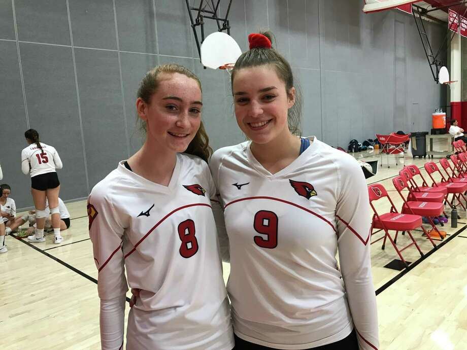 Ciara Munnelly, left, and Lilly Saleeby are senior captains of the Greenwich girls volleyball team, which is currently ranked No. 1 in the state. Photo: David Fierro /Hearst Connecticut Media