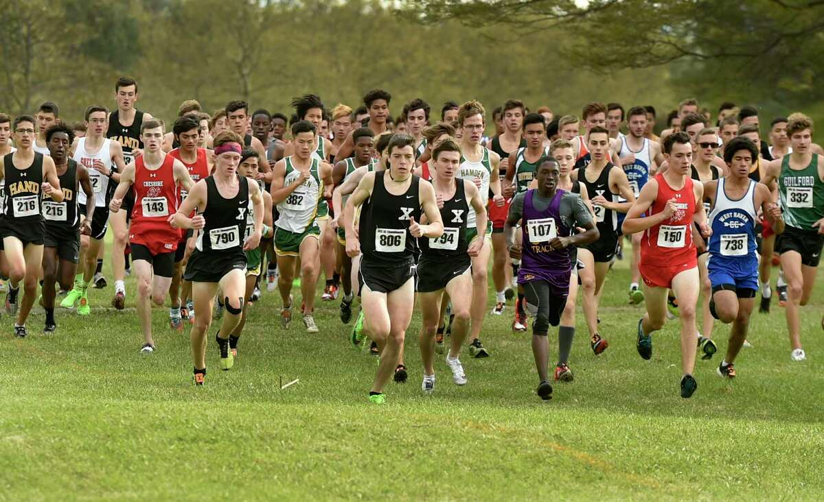 New Haven, Connecticut - Thursday, October 17, 2019: The start of the SCC Boys Cross Country Championship Thursday afternoon at East Shore Park in New Haven.