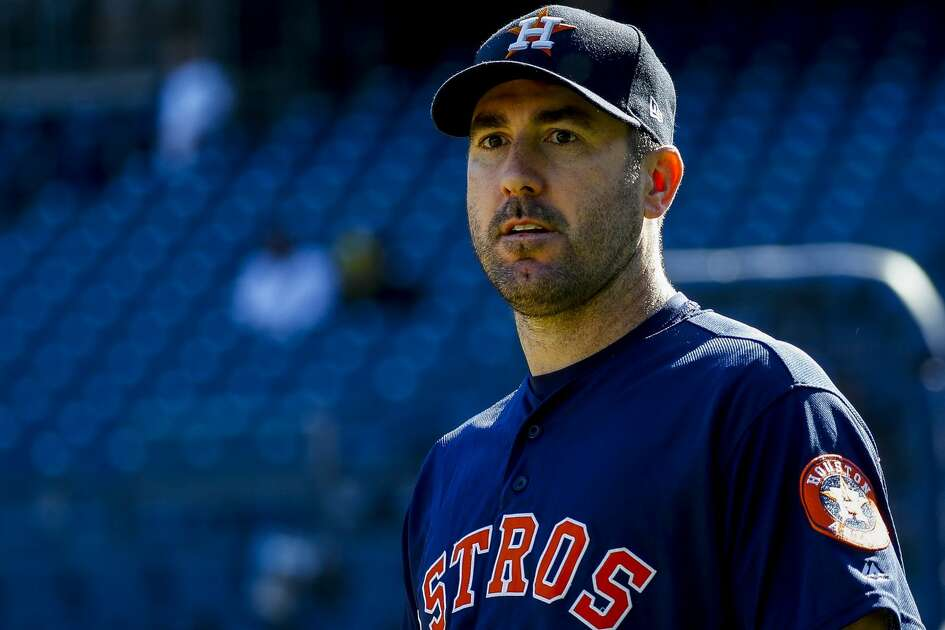 Houston Astros starting pitcher Justin Verlander (35) warms up during batting practice before Game 3 of the American League Championship Series at Yankee Stadium in New York on Tuesday, Oct. 15, 2019.