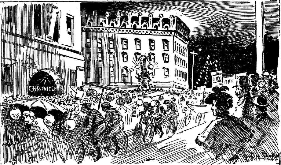 Bicycle enthusiasts rode through San Francisco to protest terrible road conditions in 1896. Photo: Chronicle File Illustration